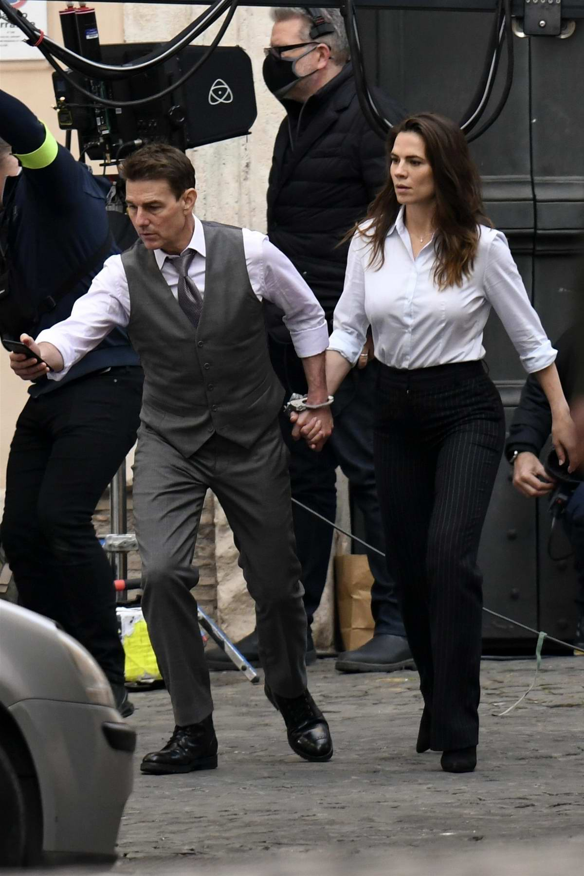 Hayley Atwell and Tom Cruise seen handcuffed to each other while filming 'Mission Impossible 7' in Rome, Italy
