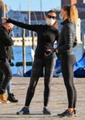 Hayley Atwell takes some time out from filming as she enjoys a stroll with a friend in Venice, Italy