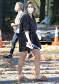 Hilary Duff looks great in a black minidress as she arrives on the set of 'Younger' in Queens, New York