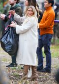 Hilary Duff seen carrying garbage bags with Sutton Foster while filming 'Younger' in New York