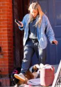 Hilary Duff seen out with her new Saint Bernard puppy in New York City