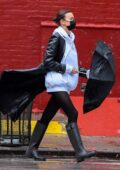 Irina Shayk braves the rain in style while out in New York City