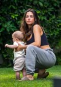 Jenna Dewan spends quality time with her baby boy Callum while she takes her dog out in Los Angeles