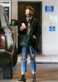 Jordana Brewster drops her dog off to a vet before picking up lunch to-go in Los Angeles