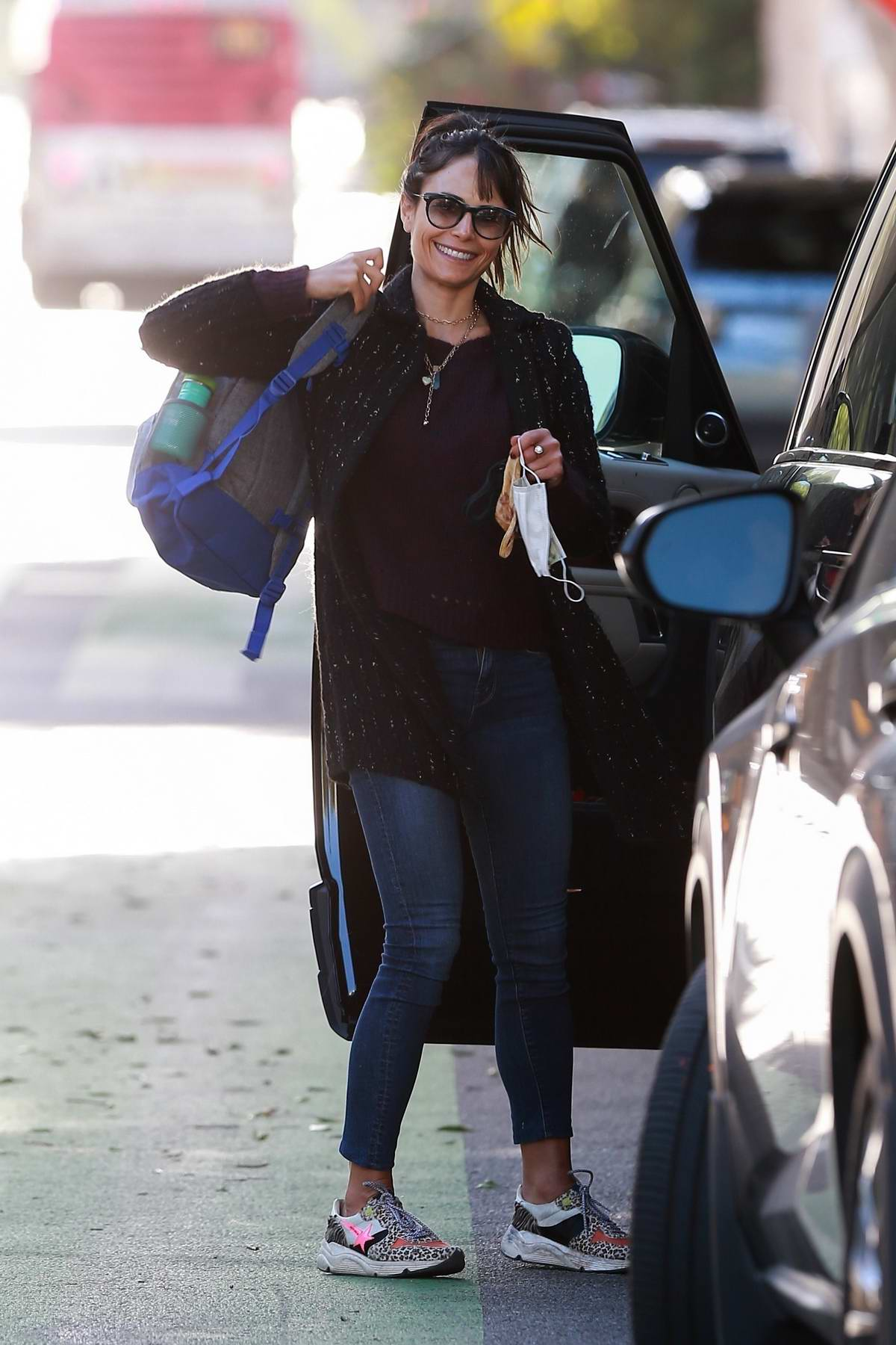 Jordana Brewster is all smiles as she is spotted heading out in Santa Monica, California
