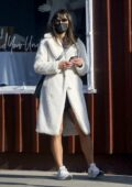 Jordana Brewster seen wearing a white teddy coat while out to grab coffee on Thanksgiving in Los Angeles