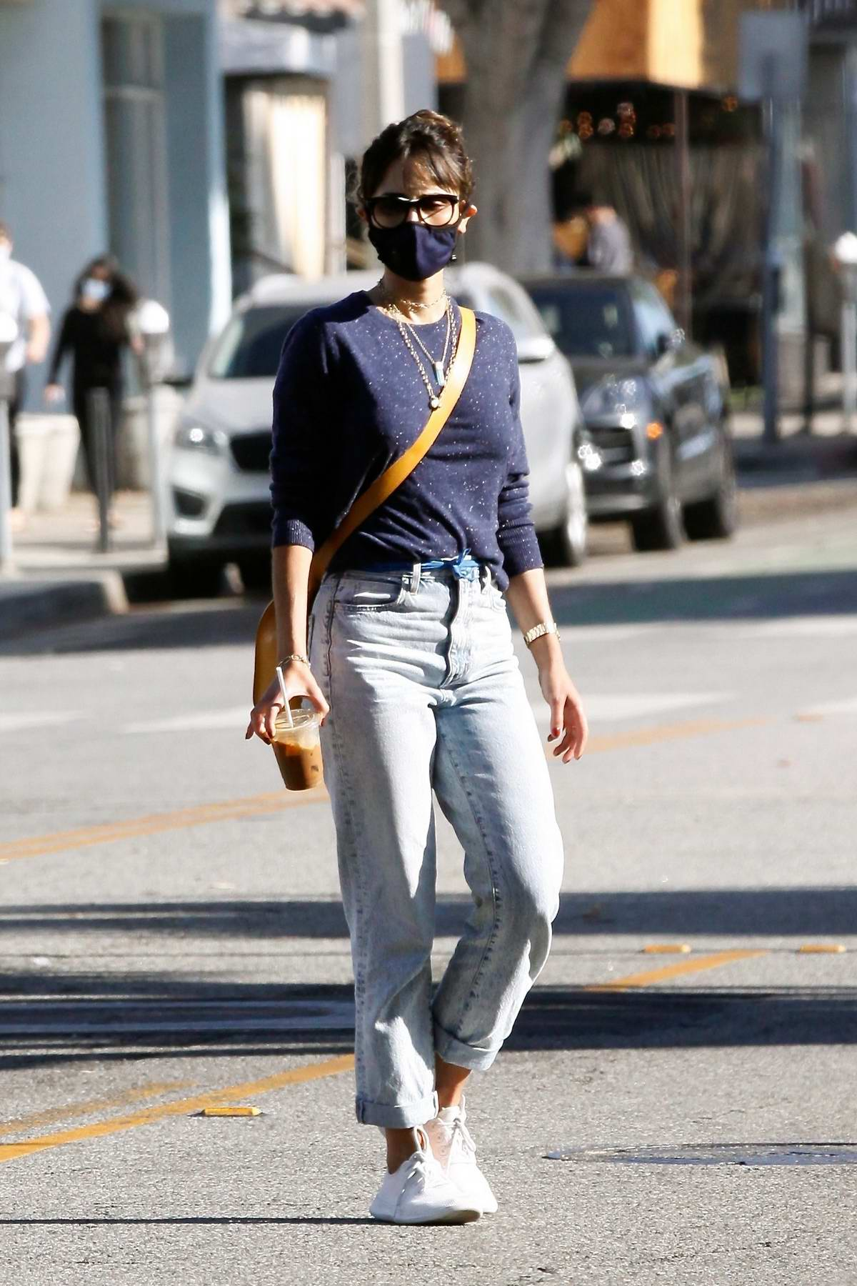 Jordana Brewster steps out for her morning coffee in Santa Monica, California