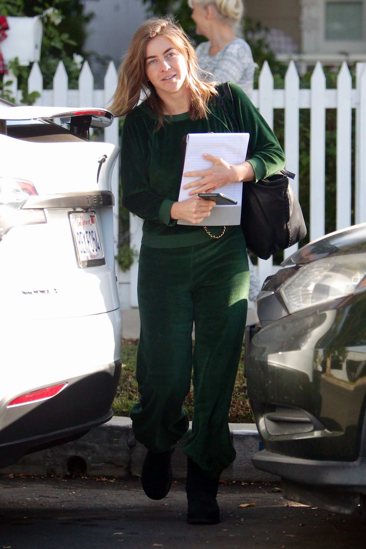 Julianne Hough seen wearing cozy green sweats as she leaves her mother's house in Studio City, California