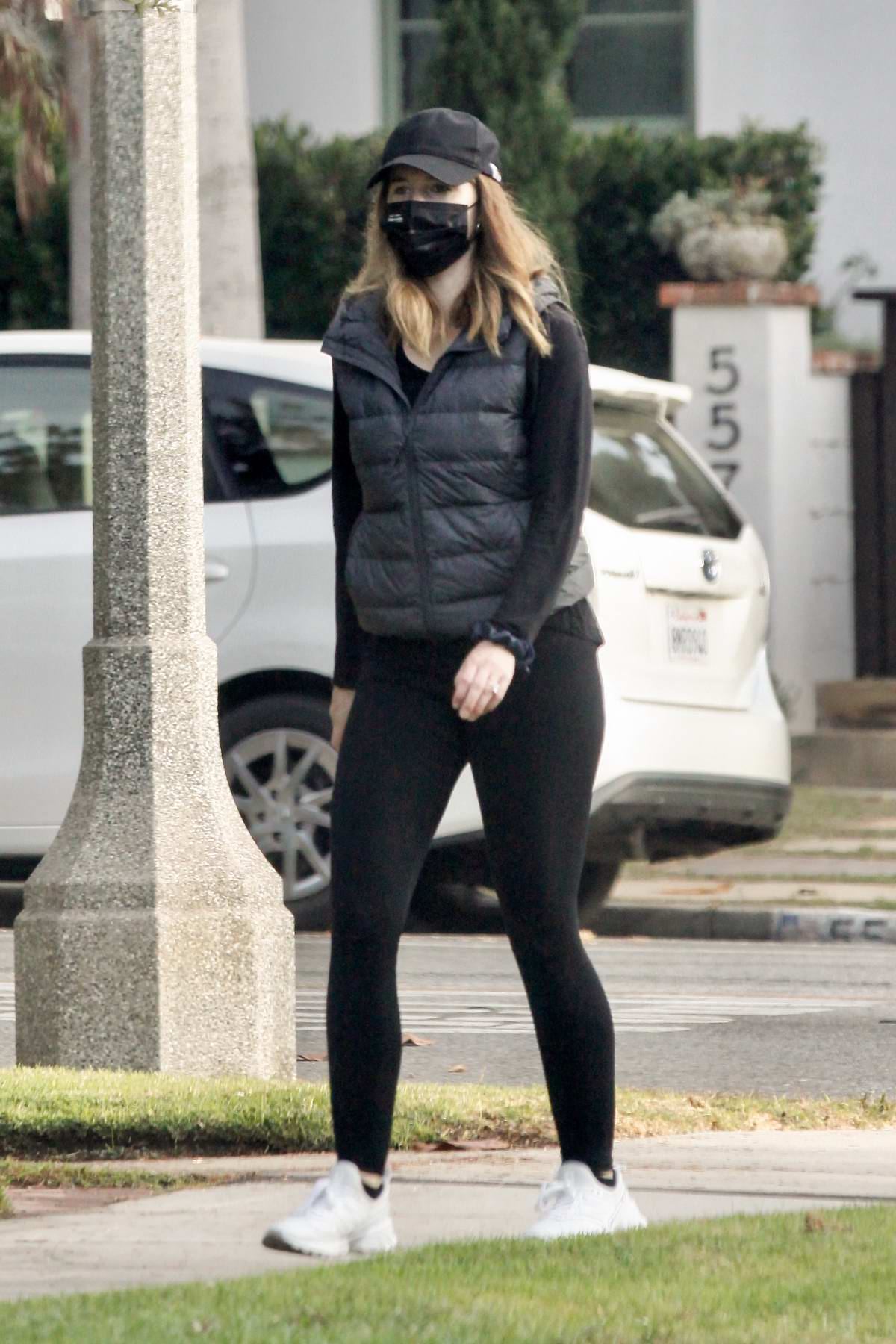 Katherine Schwarzenegger steps out in all-black for her daily walk in Santa Monica, California