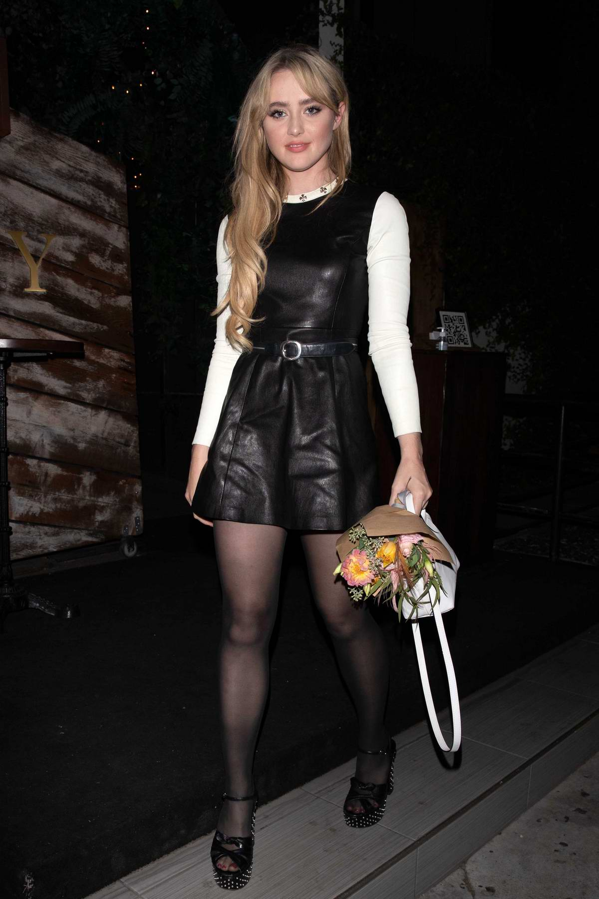 Kathryn Newton looks amazing in a leather minidress during a dinner outing in Los Angeles