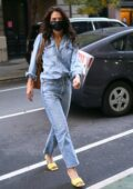 Katie Holmes dons double denim as she heads to an office building in Manhattan, New York