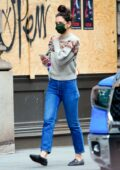 Katie Holmes keeps things casual with a sweater and denim while out on Thanksgiving day in New York City