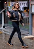 Kelly Brook looks stylish in all-black leather ensemble as she arrives at Global Studios in London, UK