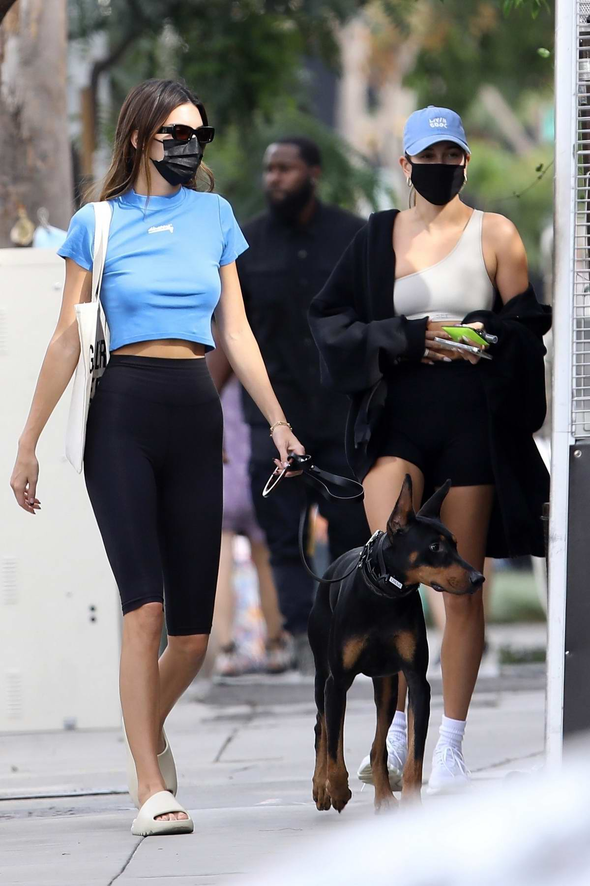 Kendall Jenner and Hailey Bieber get together to grab lunch at Zinque Cafe in West Hollywood, California