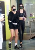 Kendall Jenner and Hailey Bieber make a stop to grab a post-workout smoothie at Earthbar in Los Angeles