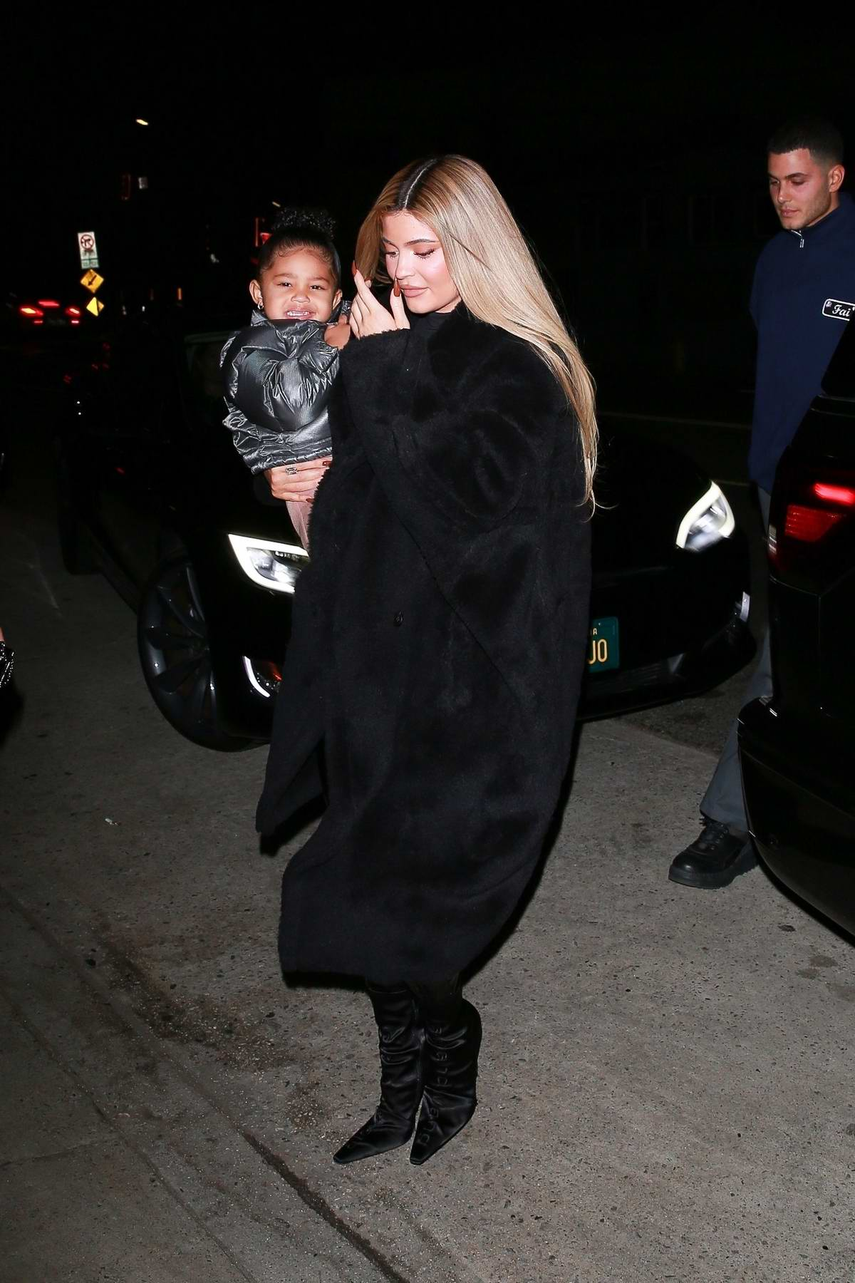 Kylie Jenner seen wearing all-black as she steps out for dinner with friends in Santa Monica, California