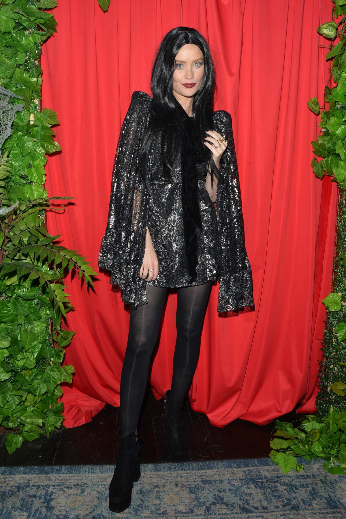 Laura Whitmore dresses up in a Halloween costume for All Star Cabaret Halloween night at Proud Embankment in London, UK