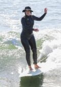 Leighton Meester and Adam Brody change into wetsuits before surfing session in Malibu, California