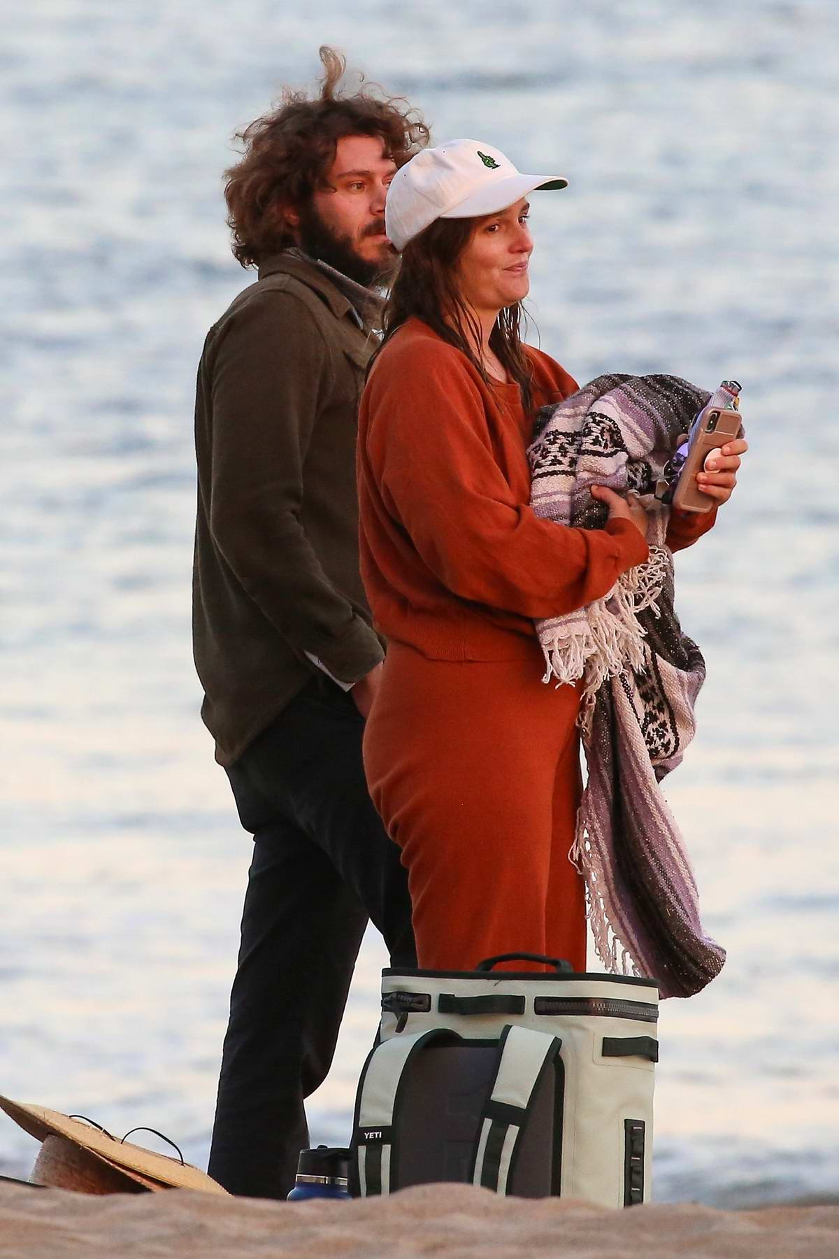 Leighton Meester and Adam Brody enjoy an romantic afternoon at the beach in Malibu, California