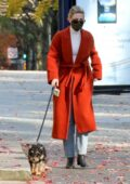 Lili Reinhart stays warm in a burnt orange long coat as she takes her dog Milo for a walk in Vancouver, Canada