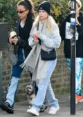 Lottie Moss enjoys a juice while out with friends in Primrose Hill, London, UK
