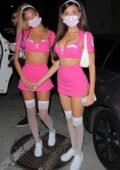Madison Beer shows off her toned abs in a sexy pink trauma Halloween costume at Catch in West Hollywood, California