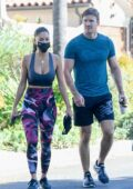 Nicole Scherzinger displays her toned physique as she leaves after a workout session with Thom Evans in Los Angeles