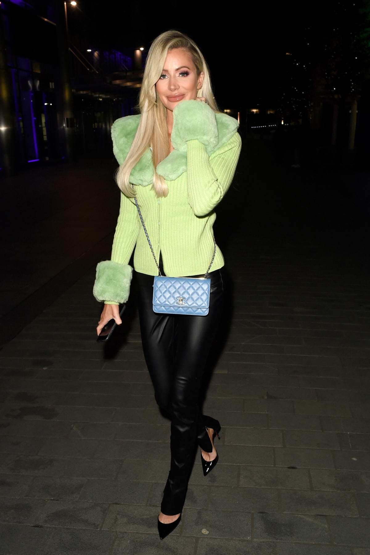 Olivia Attwood seen leaving after filming her new show 'Olivia Meets Her Match' at The XYZ Bar in Manchester, UK