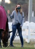 Olivia Wilde takes her kids to visit their horse in Los Angeles