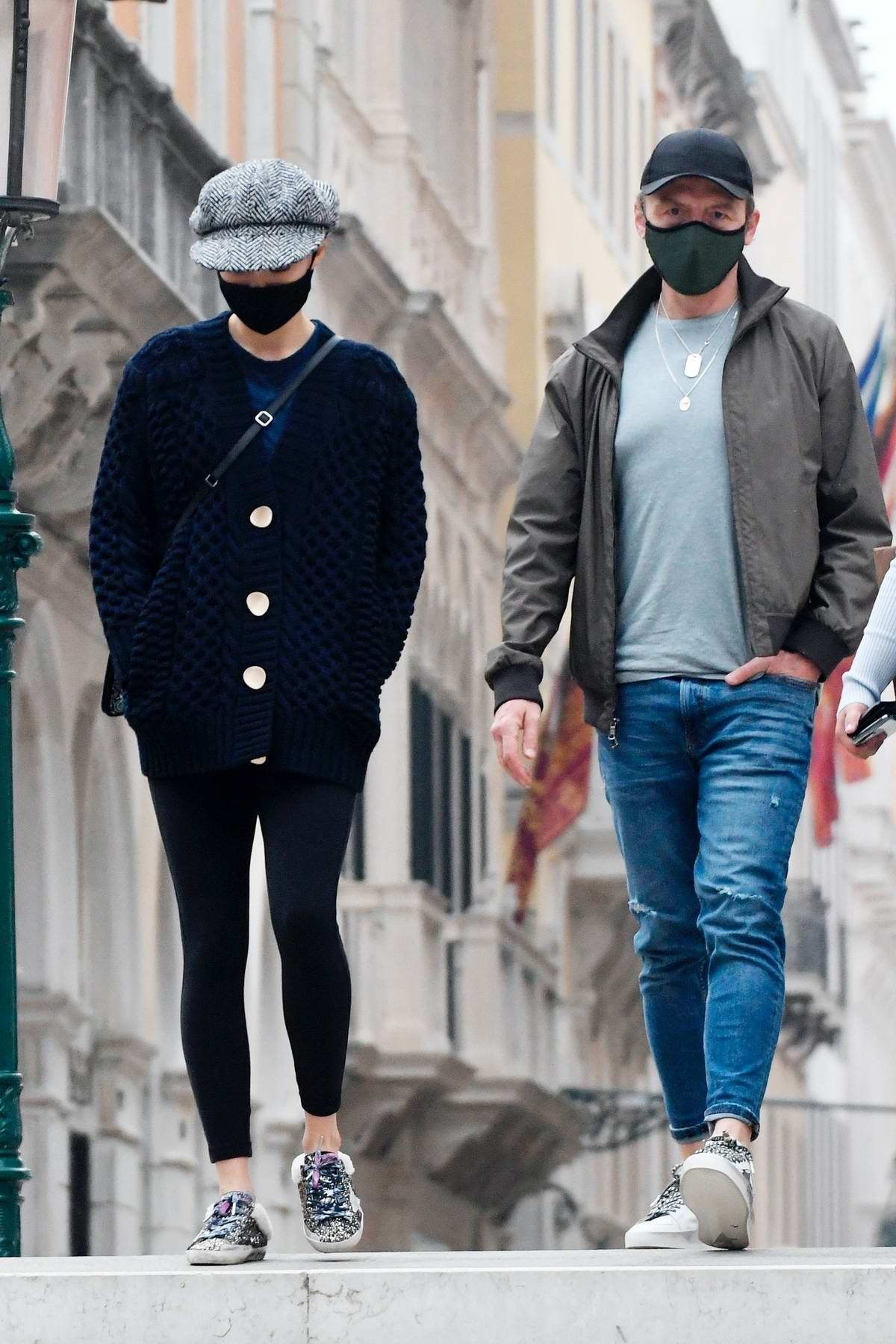 Pom Klementieff and Simon Pegg enjoy a stroll around town after a night of filming for 'Mission Impossible 7' in Venice, Italy