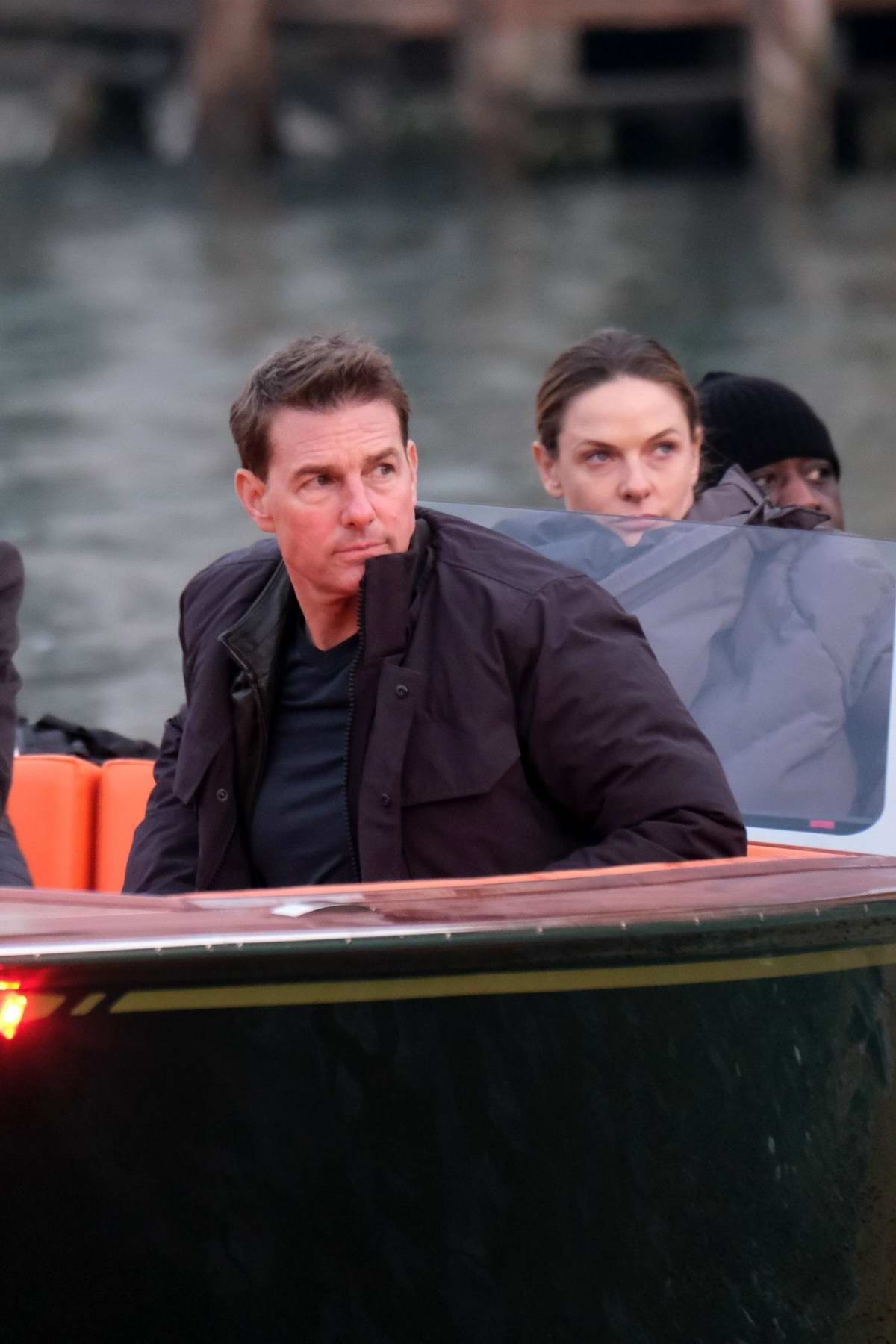 Rebecca Ferguson and Tom Cruise seen filming last scenes of 'Mission Impossible 7' on a boat in Venice, Italy