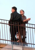 Rebecca Ferguson and Tom Cruise spotted filming a scene for 'Mission Impossible 7' on a rooftop in Venice, Italy