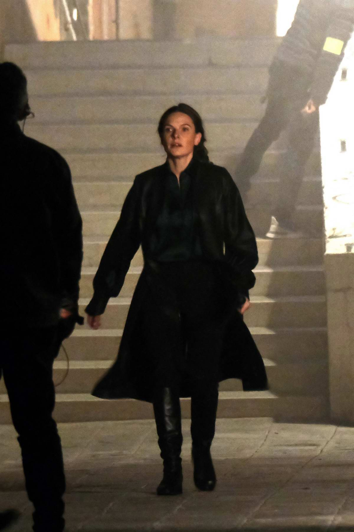 Rebecca Ferguson seen filming a chase scene on the set of 'Mission Impossible 7' on Campo San Giacomo dell'Orio in Venice, Italy