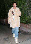 Rihanna looks cozy in a fur coat as she exits Giorgio Baldi after dinner in Santa Monica, California