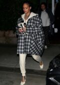 Rihanna steps out make-up free for a late night dinner at Georgia Baldi in Santa Monica, California