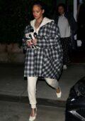 Rihanna steps out make-up free for a late night dinner at Georgia Baldi in Santa Monica, California