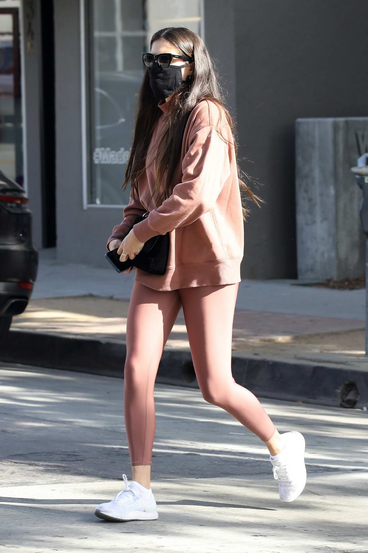 Sara Sampaio heads for her morning workout at the DogPound gym in West Hollywood, California