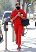 Sara Sampaio looks striking in bright red leggings and hoodie as she hits the Dogpound gym in West Hollywood, California