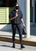 Sara Sampaio sports all-black as she arrives for a morning workout at the Dogpound gym in West Hollywood, California