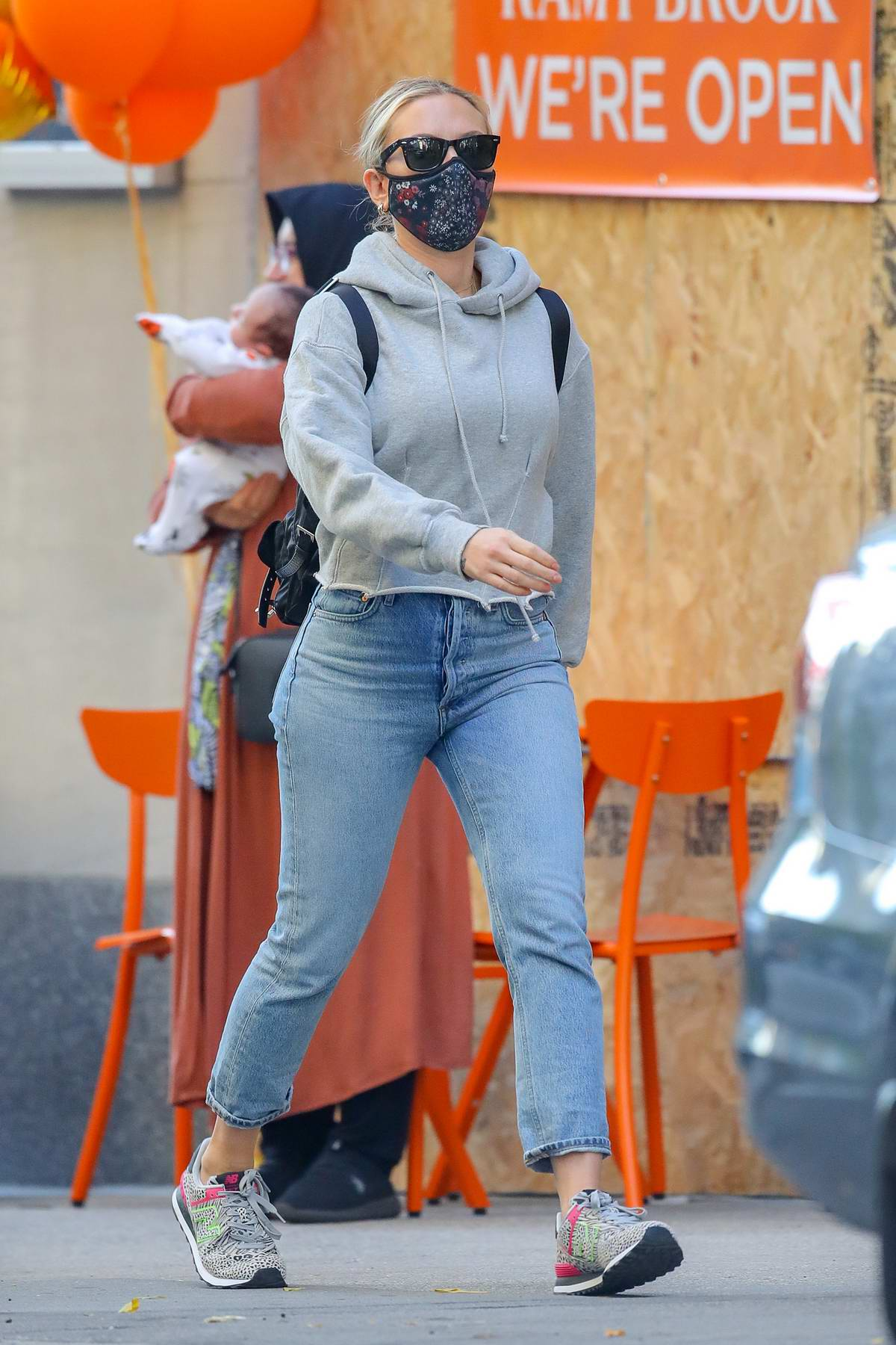 Scarlett Johansson keeps it casual with a hoodie and jeans while out for a stroll in New York City