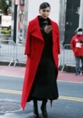Sofia Carson pre-tapes ahead of Macy's Thanksgiving Day Parade 2020 at Herald Square in New York City