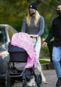 Sophie Turner and Joe Jonas step out together for a walk with their daughter on Thanksgiving in Los Angeles