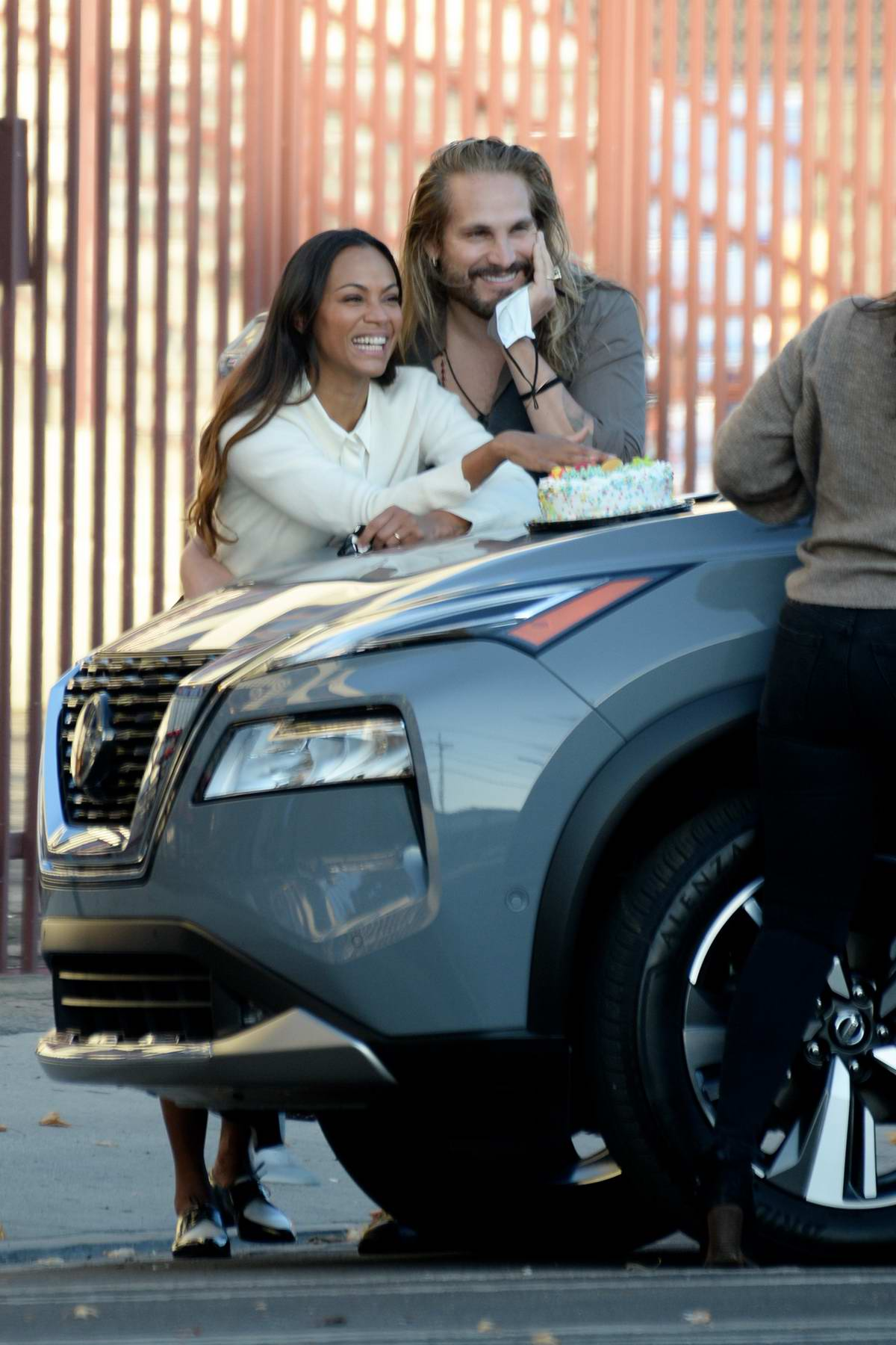 Zoe Saldana celebrates a COVID-19 style birthday with husband Marco Peregos and some friends in Los Angeles
