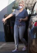 Ariel Winter wears a grey tee and sweatpants as she stops by an office building in Studio City, California