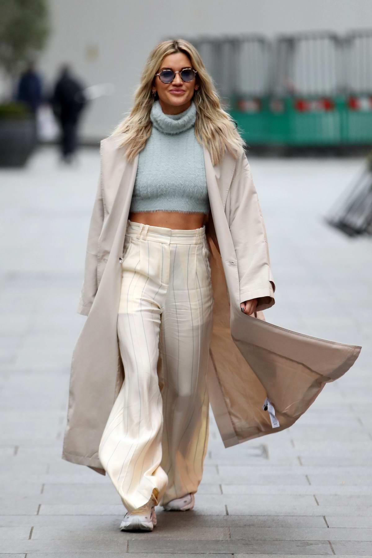 Ashley Roberts looks stylish as she leaves Global Radio Studios in London, UK