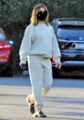 Ashley Tisdale wears comfy sweats and a black mask as she goes on a coffee run in Los Feliz, California