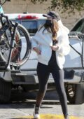 Christina Schwarzenegger enjoys a bike ride with her dad Arnold Schwarzenegger in Brentwood, California