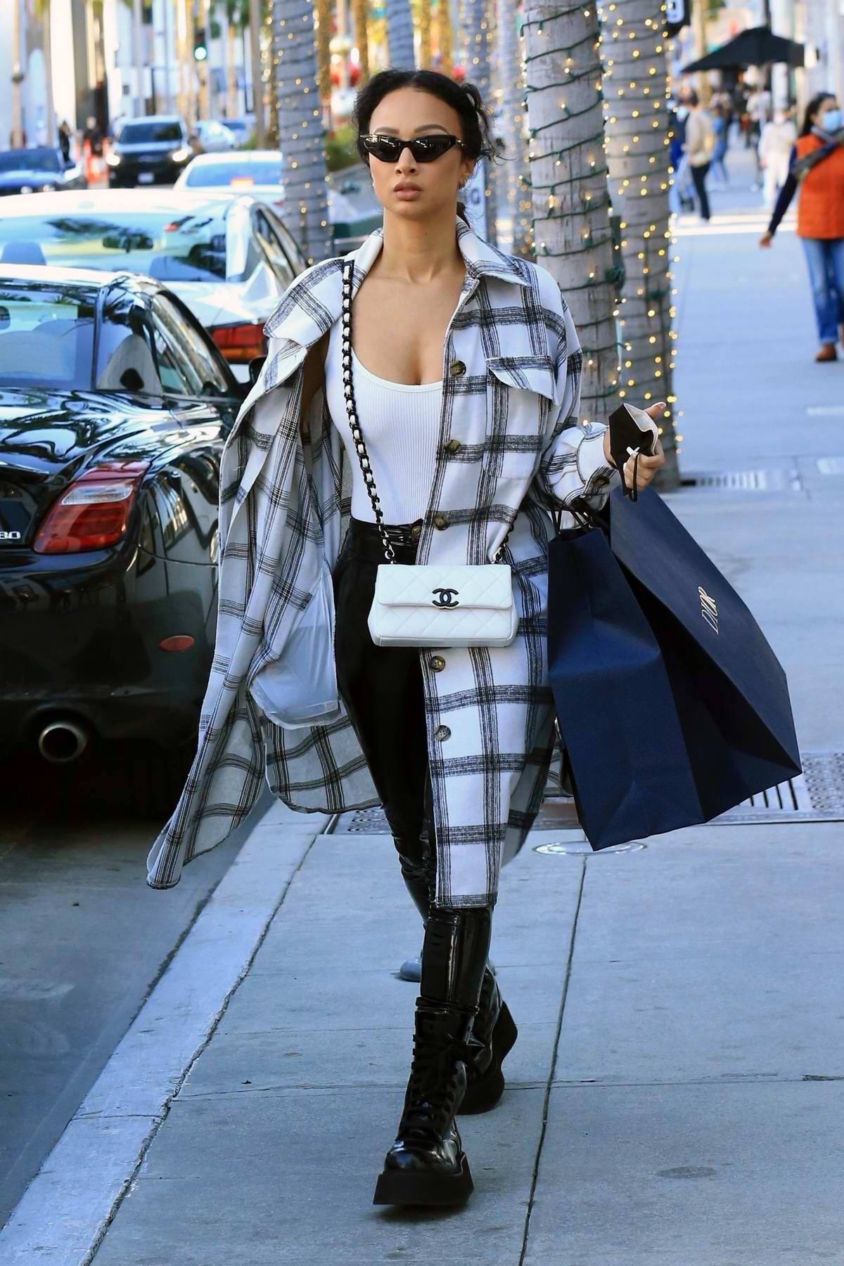 Draya Michele looks casually chic while out shopping on Rodeo Drive in Beverly Hills, California
