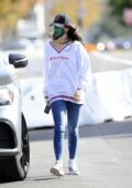 Eiza Gonzalez looks cool in a white 'Champion' sweatshirt and skinny jeans while during a coffee run in Los Angeles