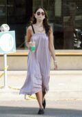 Eiza Gonzalez looks pretty in a pink sundress while making a coffee run in West Hollywood, California